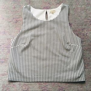 Maison Jules cropped black/white checkered blouse